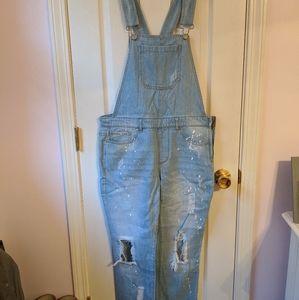 Boyfriend overalls with paint splatters